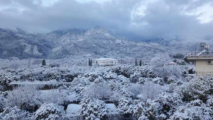 Snow at Sparta Greece
