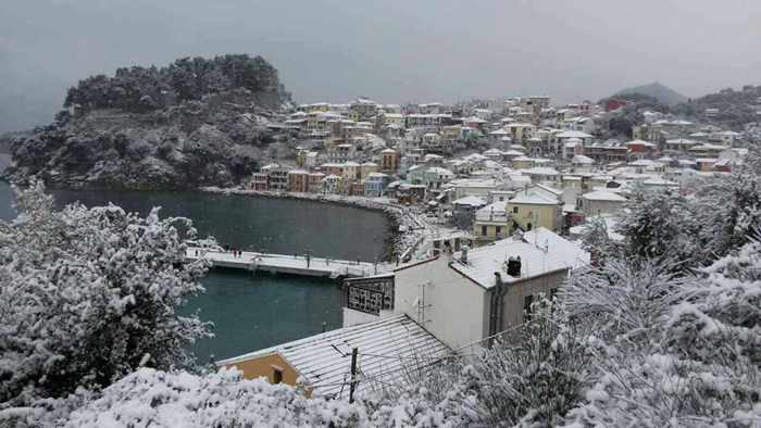 Snow at Parga Greece