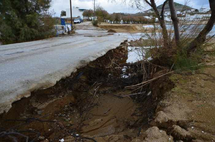 Stormwater soil erosion near Naoussa on Paros