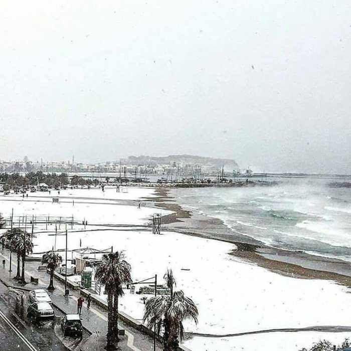 Snow on the beach at Rethymno Crete