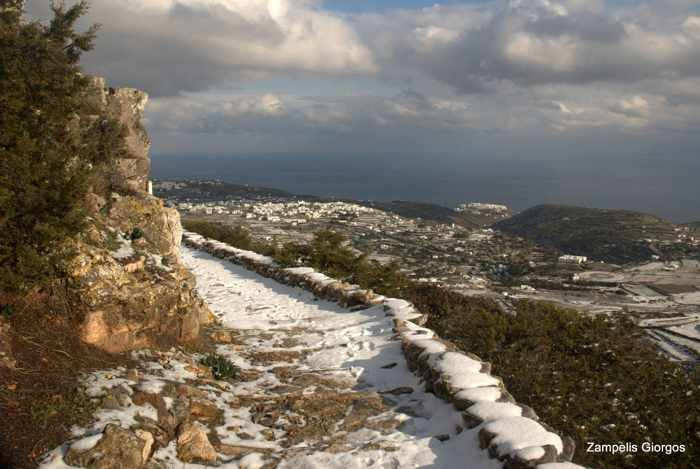 snow on Sifnos island walking trail