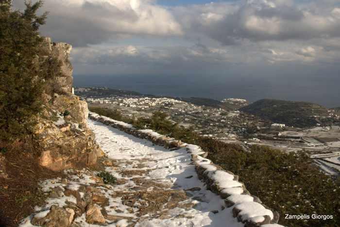 snow on Sifnos island walking trail
