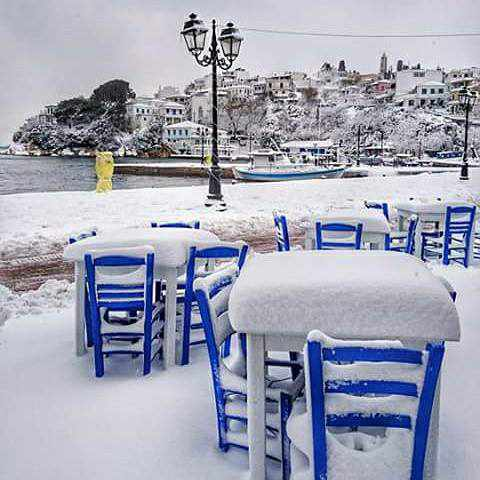 Snow on Skiathos island