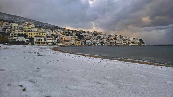 Snow at Batsi village Andros
