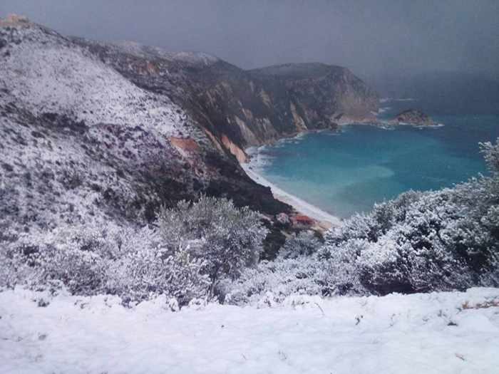 Snow at Myrtos beachon Kefalonia