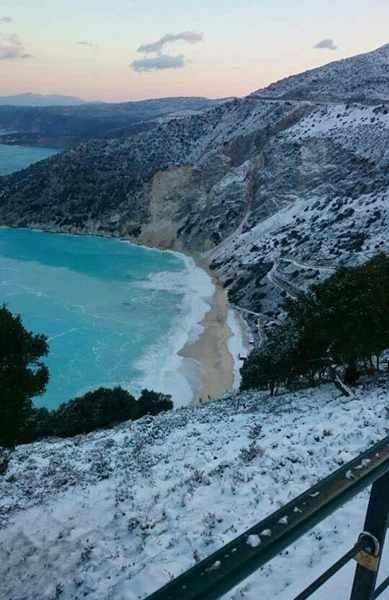 Snow at Myrtos beach on Kefalonia