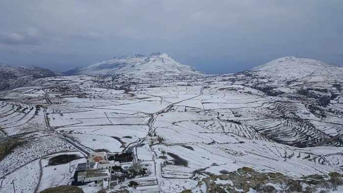 snow on Tinos
