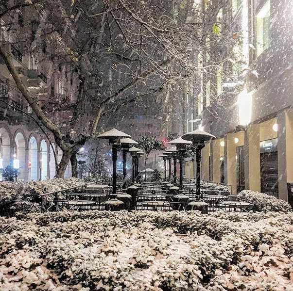 Snow at Zonars cafe in Athens Greece