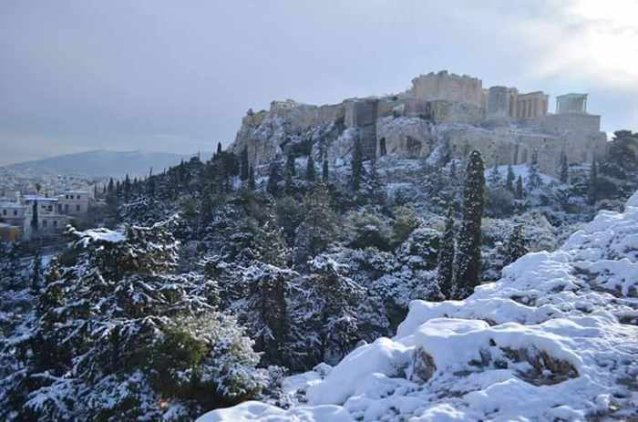 Snow in Central Athens Greece
