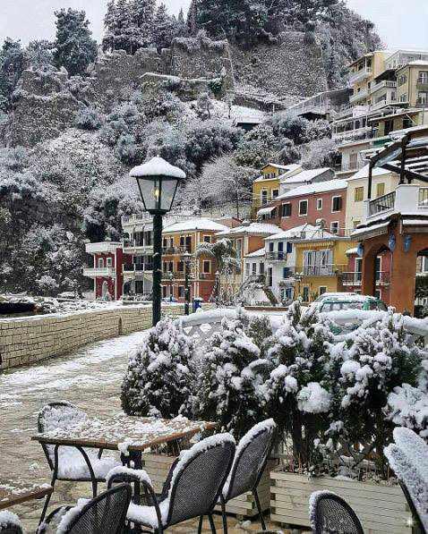snow at Parga Greece