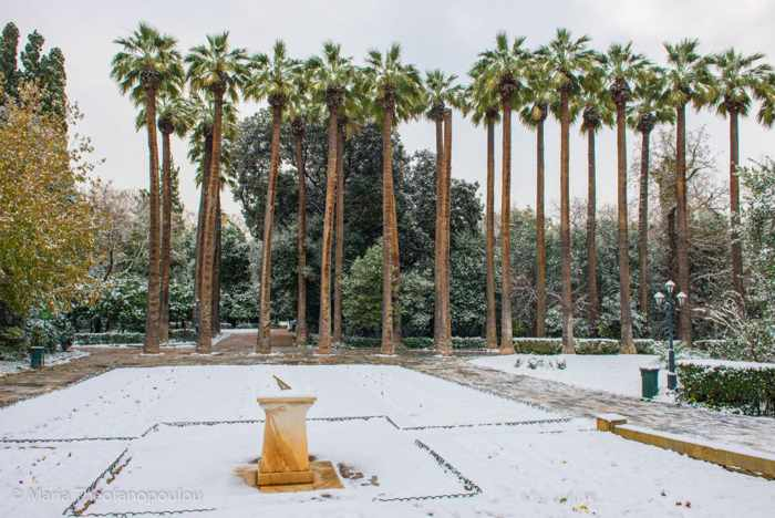 Snow in the National Gardens in Athens Greece