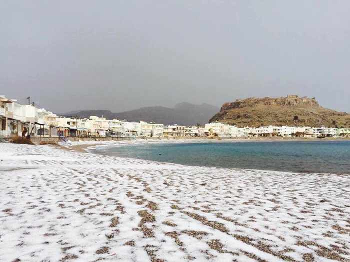 Snow on Charaki beach on Rhodes