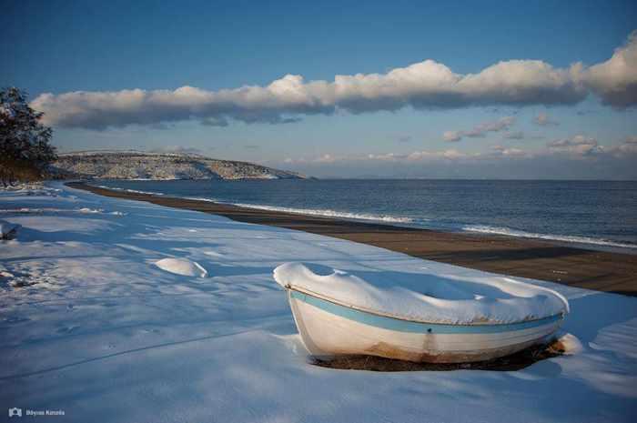 Snow on Evia island