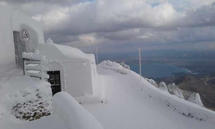 snow on Milos