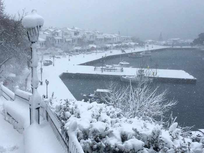 Snow on the Skiathos Town waterfront