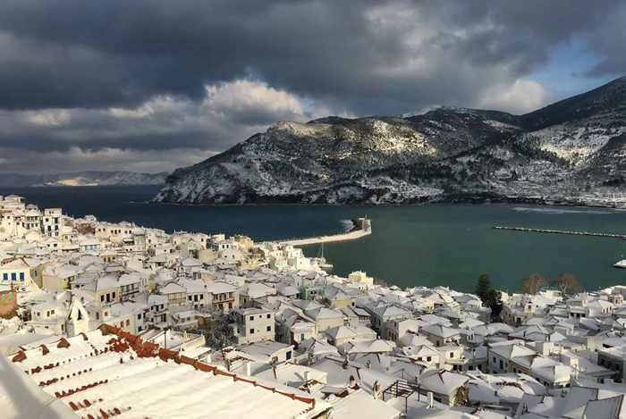 Snow on Skopelos island