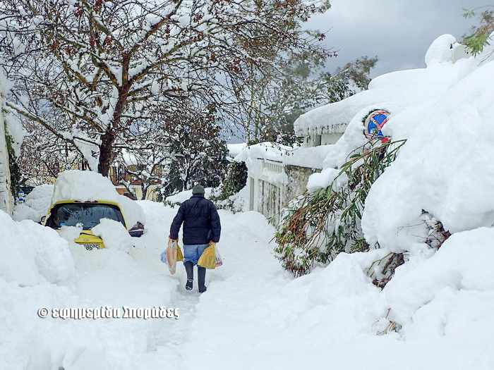 Snow on a Skopelos Town street