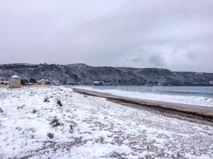 snow on a beach on Lefkada island