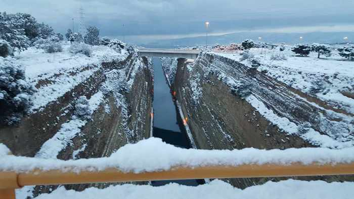Snow at the Corinth Canal in Greece
