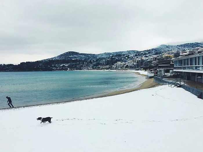 snow at Kavala Greece