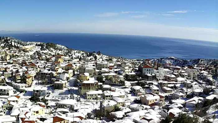 Snow at Kymi on Evia island