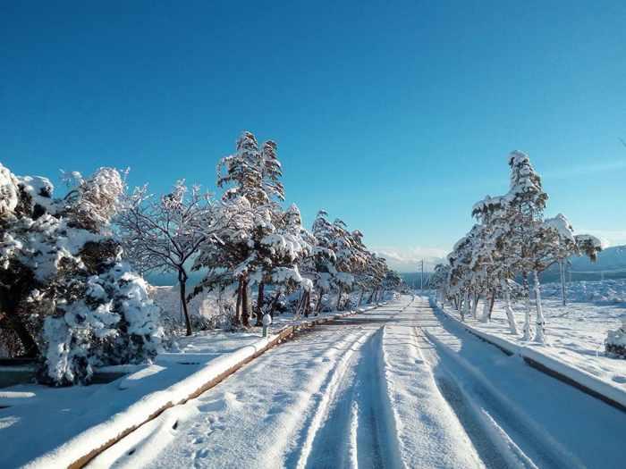 Snow near Sitia on Crete