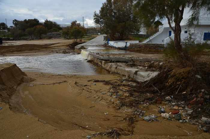 Rainfall damage at Marpissa village on Paros