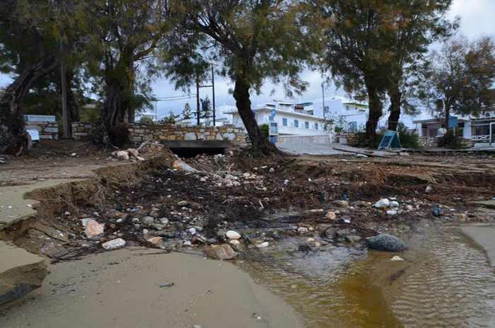 Rainfall damage near Marpissa village on Paros