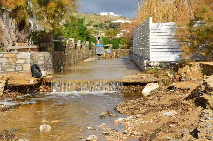 Rainstorm damage at Marpissa village on Paros