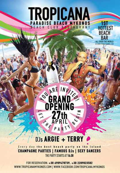 Tropicana beach club Mykonos 2017 opening announcement