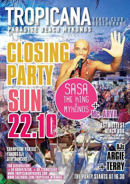 Tropicana beach club Mykonos closing party