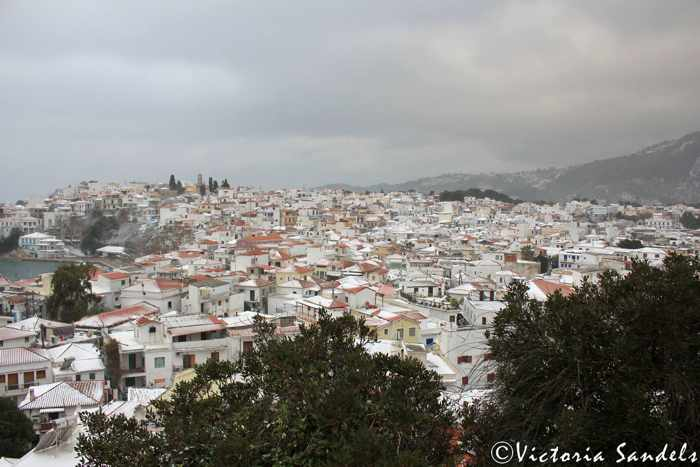 Snow on Skiathos photo by Victoria Sandels