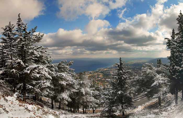 snow on Chios island