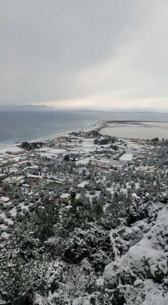 snow at Agios Ioannis on Lefkada island