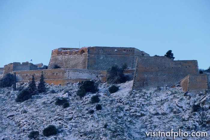 Snow at Palamidi fortress in Nafplio