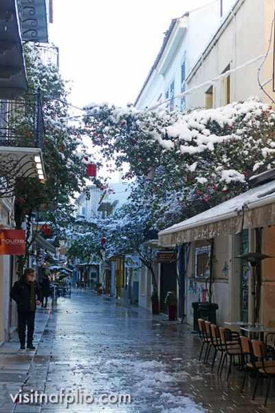 Snow on a Nafplio street