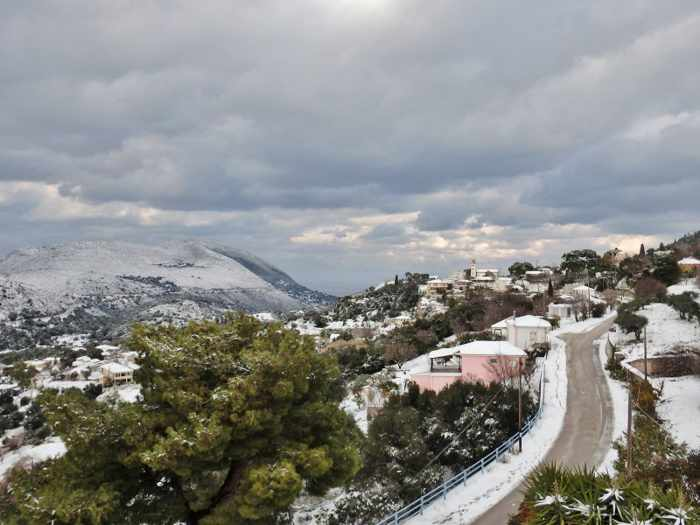snow at Thinia village on Kefalonia island