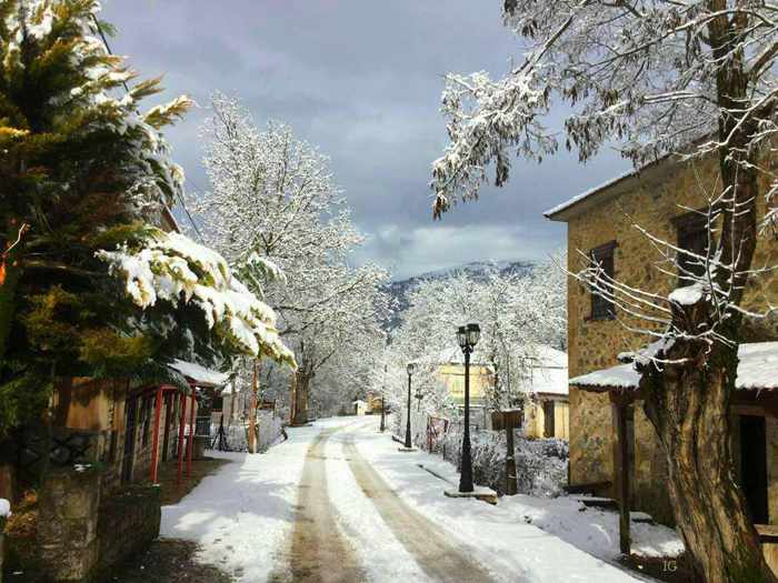 snow at Zarouchla village Greece
