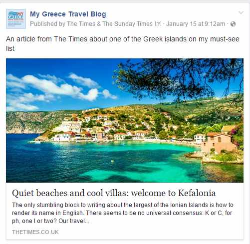 MyGreeceTravelBlog Facebook page screenshot