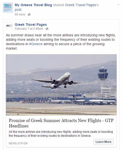 MyGreeceTravelBlog Facebook page screen capture