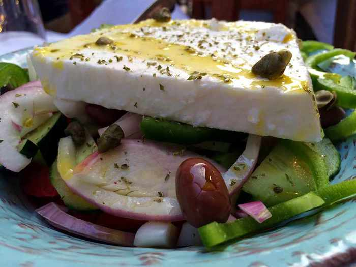 Greek salad at Aiolos Taverna Nafplio
