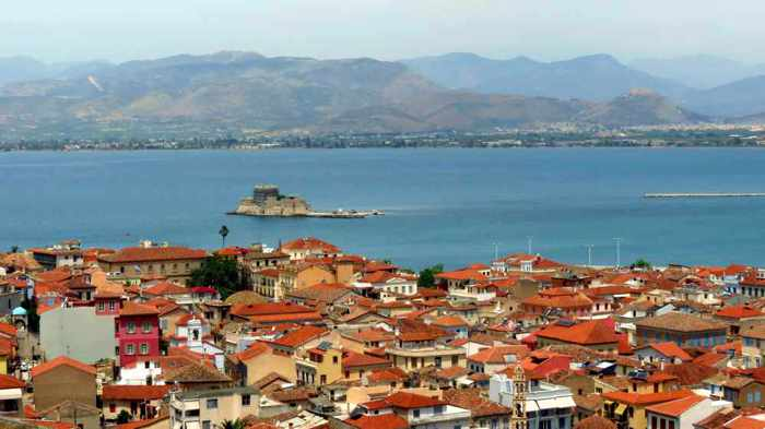 Nafplio Old Town Bourtzi castle and Peloponnes