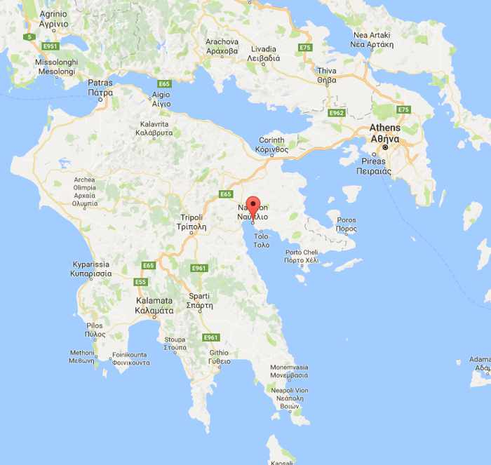 Nafplio indicated on Google maps