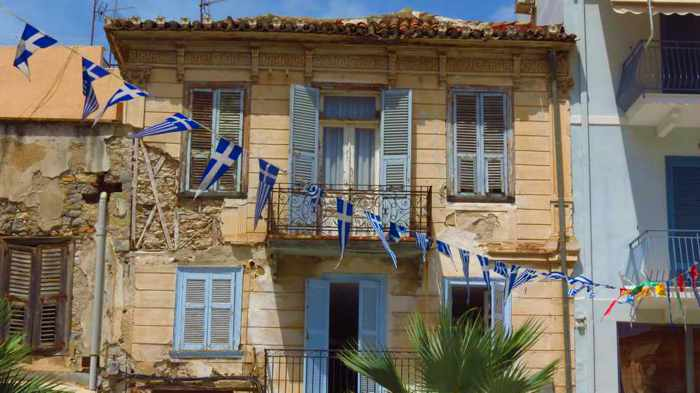 a building in the Nafplio Old Town