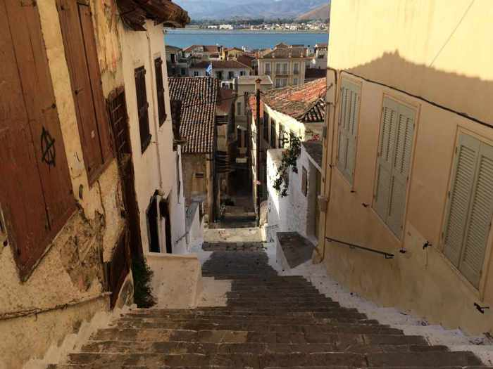 a lane of steps in the Nafplio Old Town