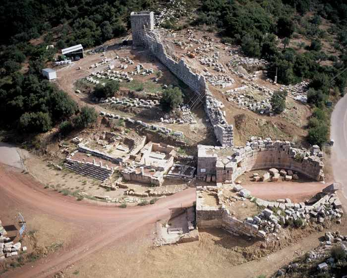 Aerial view of Arcadian Gate at Ancient Messini