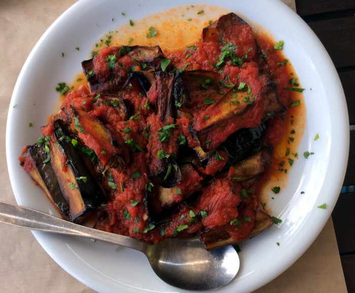 Roasted eggplant at Ithomi Restaurant