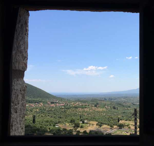 Messana Hotel bathroom window view