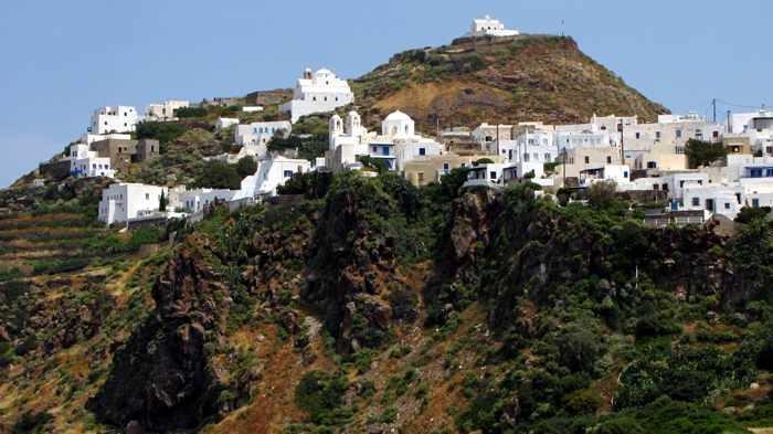 Plaka village on Milos island