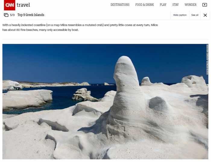 CNN Travel article about Milos